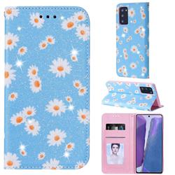 Ultra Slim Daisy Sparkle Glitter Powder Magnetic Leather Wallet Case for Samsung Galaxy Note 20 - Blue