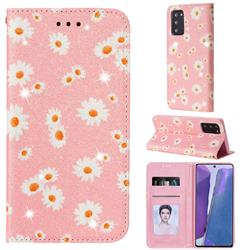 Ultra Slim Daisy Sparkle Glitter Powder Magnetic Leather Wallet Case for Samsung Galaxy Note 20 - Pink