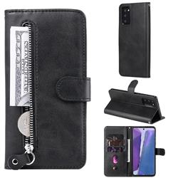 Retro Luxury Zipper Leather Phone Wallet Case for Samsung Galaxy Note 20 - Black