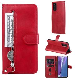 Retro Luxury Zipper Leather Phone Wallet Case for Samsung Galaxy Note 20 - Red