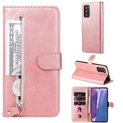 Retro Luxury Zipper Leather Phone Wallet Case for Samsung Galaxy Note 20 - Pink