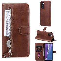 Retro Luxury Zipper Leather Phone Wallet Case for Samsung Galaxy Note 20 - Brown