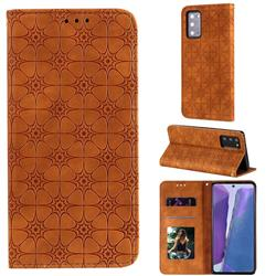 Intricate Embossing Four Leaf Clover Leather Wallet Case for Samsung Galaxy Note 20 - Yellowish Brown