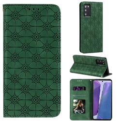 Intricate Embossing Four Leaf Clover Leather Wallet Case for Samsung Galaxy Note 20 - Blackish Green