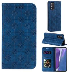 Intricate Embossing Four Leaf Clover Leather Wallet Case for Samsung Galaxy Note 20 - Dark Blue