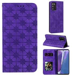 Intricate Embossing Four Leaf Clover Leather Wallet Case for Samsung Galaxy Note 20 - Purple