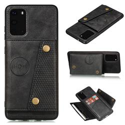 Retro Multifunction Card Slots Stand Leather Coated Phone Back Cover for Samsung Galaxy Note 20 - Black