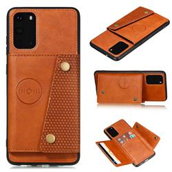 Retro Multifunction Card Slots Stand Leather Coated Phone Back Cover for Samsung Galaxy Note 20 - Brown