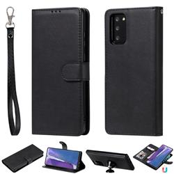 Retro Greek Detachable Magnetic PU Leather Wallet Phone Case for Samsung Galaxy Note 20 - Black