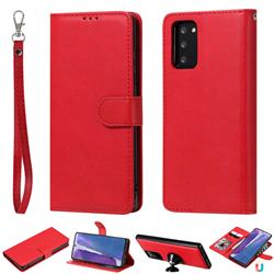 Retro Greek Detachable Magnetic PU Leather Wallet Phone Case for Samsung Galaxy Note 20 - Red