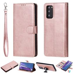 Retro Greek Detachable Magnetic PU Leather Wallet Phone Case for Samsung Galaxy Note 20 - Rose Gold