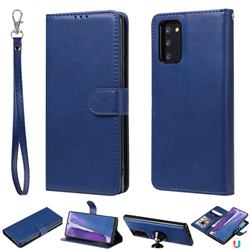 Retro Greek Detachable Magnetic PU Leather Wallet Phone Case for Samsung Galaxy Note 20 - Blue