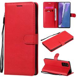 Retro Greek Classic Smooth PU Leather Wallet Phone Case for Samsung Galaxy Note 20 - Red