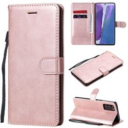 Retro Greek Classic Smooth PU Leather Wallet Phone Case for Samsung Galaxy Note 20 - Rose Gold