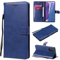 Retro Greek Classic Smooth PU Leather Wallet Phone Case for Samsung Galaxy Note 20 - Blue