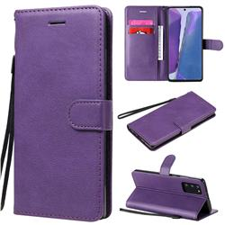 Retro Greek Classic Smooth PU Leather Wallet Phone Case for Samsung Galaxy Note 20 - Purple