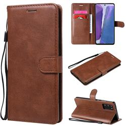 Retro Greek Classic Smooth PU Leather Wallet Phone Case for Samsung Galaxy Note 20 - Brown