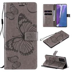 Embossing 3D Butterfly Leather Wallet Case for Samsung Galaxy Note 20 - Gray