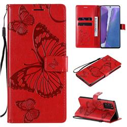 Embossing 3D Butterfly Leather Wallet Case for Samsung Galaxy Note 20 - Red