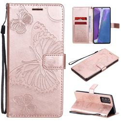 Embossing 3D Butterfly Leather Wallet Case for Samsung Galaxy Note 20 - Rose Gold