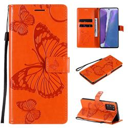Embossing 3D Butterfly Leather Wallet Case for Samsung Galaxy Note 20 - Orange