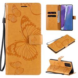 Embossing 3D Butterfly Leather Wallet Case for Samsung Galaxy Note 20 - Yellow