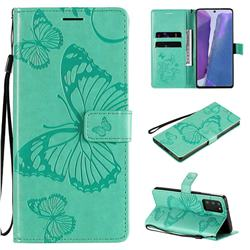 Embossing 3D Butterfly Leather Wallet Case for Samsung Galaxy Note 20 - Green