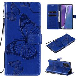 Embossing 3D Butterfly Leather Wallet Case for Samsung Galaxy Note 20 - Blue