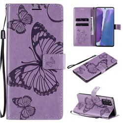 Embossing 3D Butterfly Leather Wallet Case for Samsung Galaxy Note 20 - Purple