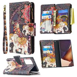 Totem Flower Elephant Binfen Color BF03 Retro Zipper Leather Wallet Phone Case for Samsung Galaxy Note 20