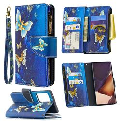 Golden Butterflies Binfen Color BF03 Retro Zipper Leather Wallet Phone Case for Samsung Galaxy Note 20