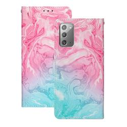 Pink Green Marble PU Leather Wallet Case for Samsung Galaxy Note 20