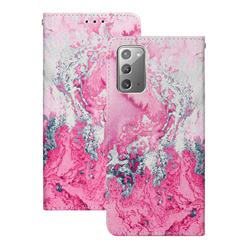 Pink Seawater PU Leather Wallet Case for Samsung Galaxy Note 20