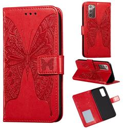 Intricate Embossing Vivid Butterfly Leather Wallet Case for Samsung Galaxy Note 20 - Red