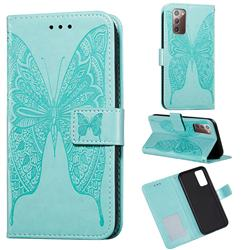Intricate Embossing Vivid Butterfly Leather Wallet Case for Samsung Galaxy Note 20 - Green