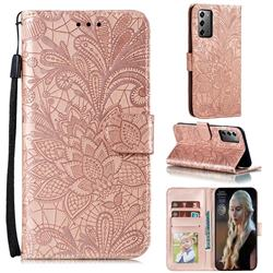 Intricate Embossing Lace Jasmine Flower Leather Wallet Case for Samsung Galaxy Note 20 - Rose Gold