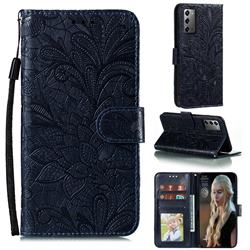 Intricate Embossing Lace Jasmine Flower Leather Wallet Case for Samsung Galaxy Note 20 - Dark Blue