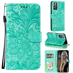 Intricate Embossing Lace Jasmine Flower Leather Wallet Case for Samsung Galaxy Note 20 - Green