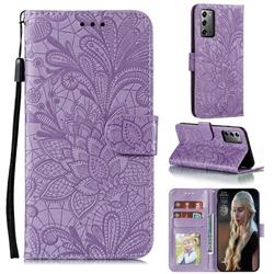 Intricate Embossing Lace Jasmine Flower Leather Wallet Case for Samsung Galaxy Note 20 - Purple