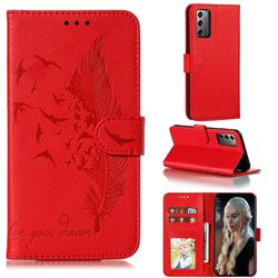 Intricate Embossing Lychee Feather Bird Leather Wallet Case for Samsung Galaxy Note 20 - Red