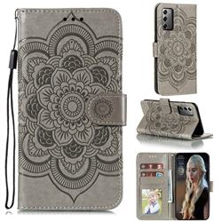 Intricate Embossing Datura Solar Leather Wallet Case for Samsung Galaxy Note 20 - Gray