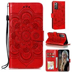Intricate Embossing Datura Solar Leather Wallet Case for Samsung Galaxy Note 20 - Red