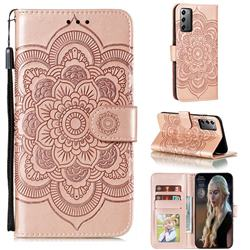 Intricate Embossing Datura Solar Leather Wallet Case for Samsung Galaxy Note 20 - Rose Gold