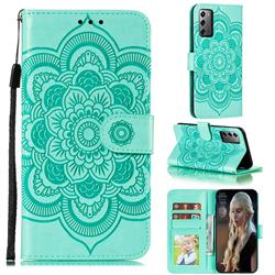 Intricate Embossing Datura Solar Leather Wallet Case for Samsung Galaxy Note 20 - Green