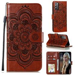 Intricate Embossing Datura Solar Leather Wallet Case for Samsung Galaxy Note 20 - Brown
