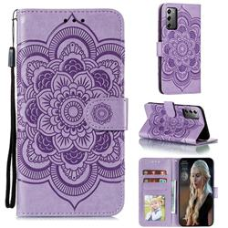 Intricate Embossing Datura Solar Leather Wallet Case for Samsung Galaxy Note 20 - Purple