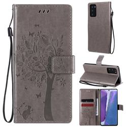 Embossing Butterfly Tree Leather Wallet Case for Samsung Galaxy Note 20 - Grey