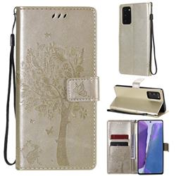 Embossing Butterfly Tree Leather Wallet Case for Samsung Galaxy Note 20 - Champagne