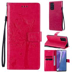 Embossing Butterfly Tree Leather Wallet Case for Samsung Galaxy Note 20 - Rose