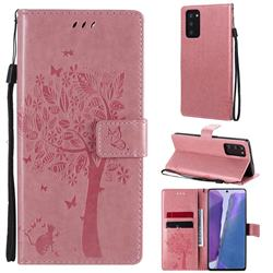 Embossing Butterfly Tree Leather Wallet Case for Samsung Galaxy Note 20 - Pink